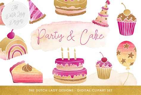 party cake clipart set  pink purple  gold