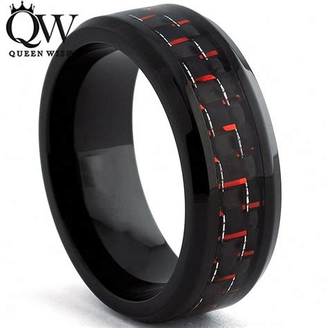 queenwish engagement rings for 8mm black tungsten ring black and carbon fiber inlay step