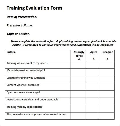 training evaluation form templates evaluation form