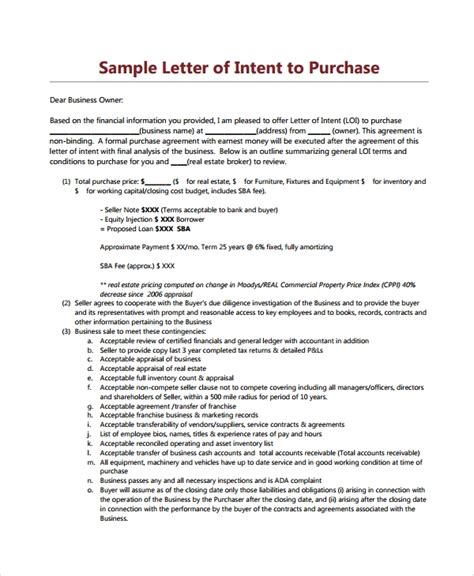letters  intent  purchase property  word