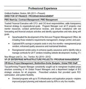 project manager resume 6 sles exles format