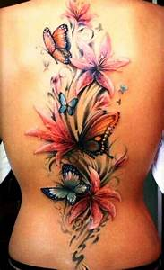 3D Butterfly and Flower Tattoos on Back | InsigniaTattoo.com