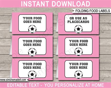 label cuisine soccer theme food labels place cards