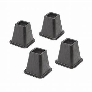 whitmor black plastic bed risersset of 4 6511 3349 blk With furniture risers home depot