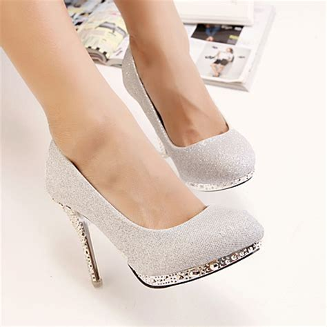 Fashion Rivets Embellished Round Closed Toe Stiletto High Heel Silver Pumps_Pumps_Shoes ...