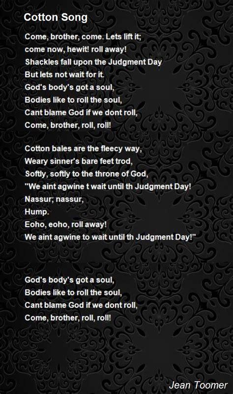 cotton song poem  jean toomer poem hunter