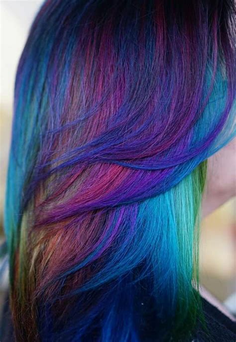 Blue Mixed Multi Dyedhair Inspiration Hairspiration Alix