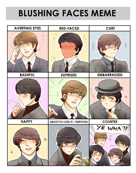 Beatles Meme - beatles blushing meme by peppermoonflakes on deviantart