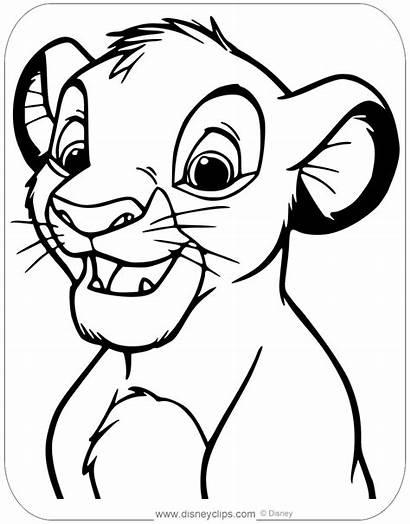 Lion Simba Coloring King Face Books Disneyclips