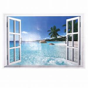 Diy gift d beach window view wall sticker removable
