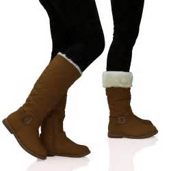 womens boots wide fit uk womens quilted fur lined wide calf mid height boots zip up shoes size ebay
