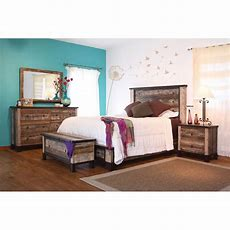 Rustic 6 Piece King Bedroom Set  Antique  Rc Willey