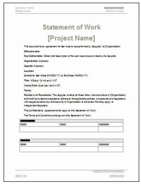 Statement Of Works Template by 5 Free Statement Of Work Templates Word Excel Pdf