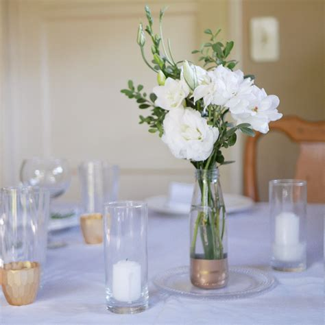 Simple Diy Wedding Centerpiece White Roses And Lisianthus