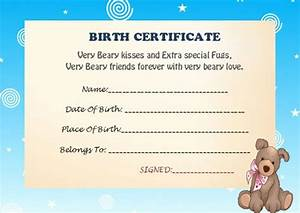 build a bear certificate template 15 attractive With build a bear birth certificate template