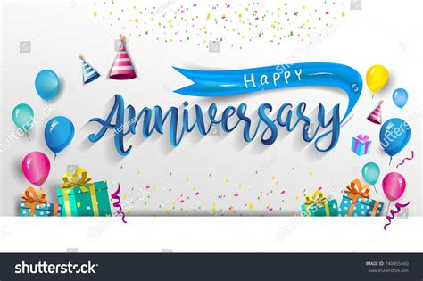 Happy Anniversary Typography Vector Design For Greeting