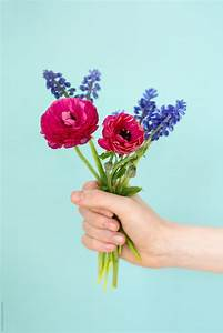 Hand Holding Bunch Of Flowers By Ruth Black