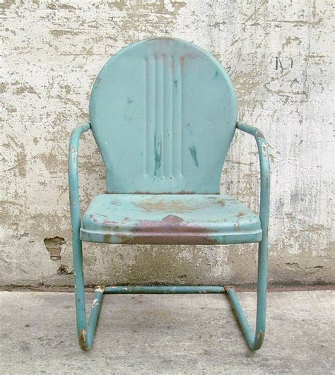 retro metal lawn chair teal rustic by theartifactorystudio