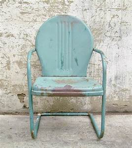 Retro metal lawn chair teal rustic vintage porch furniture for Vintage metal furniture