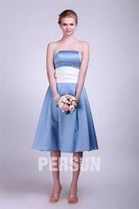 Robe Bleu Demoiselle D Honneur : courte robe demoiselle d honneur bleu satin taille blanche ~ Dallasstarsshop.com Idées de Décoration