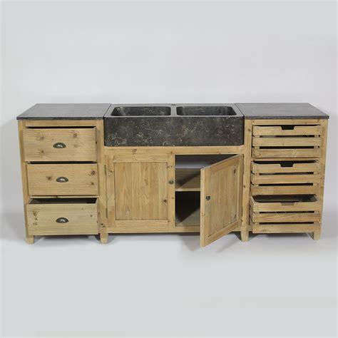 meubles cuisine cuisine bois recyclé avec plateau en bleue
