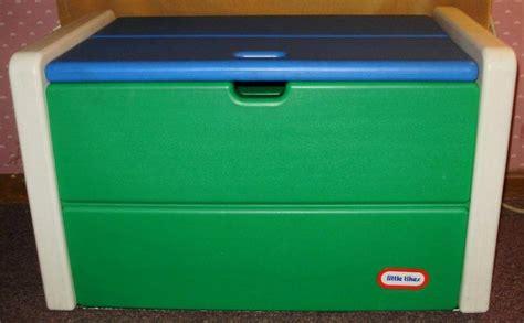 vintage  tikes child full size toy box blue green  babies pinterest john deere