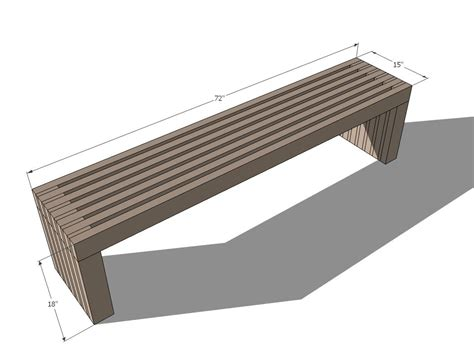 ana white build  modern slat top outdoor wood bench