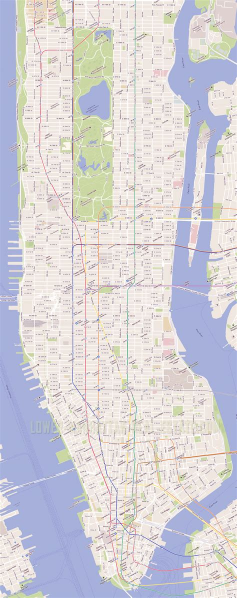 detailed road map  manhattan nyc manhattan nyc detailed
