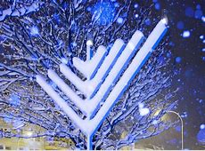 Happy Chanukah Snow Covered Chanukah Menorah One of a