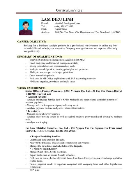 Dob On Resume by 1 Lam Dieu Linh Resume
