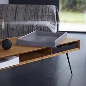 Table Basse 3 Pieds : table basse rectangulaire en teck et pieds m tal noir 3 tiroirs ruben decoclico ~ Teatrodelosmanantiales.com Idées de Décoration