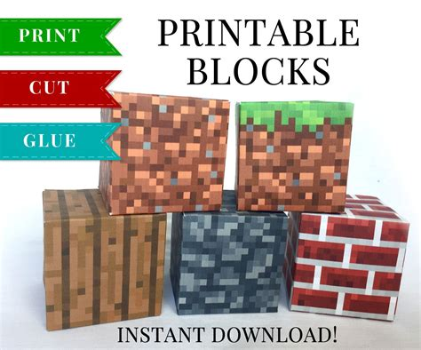This Set Of Minecraft Printable Papercraft Blocks Include