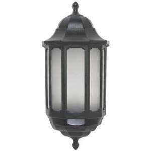 asd led hi lo half lantern outdoor wall light with pir hilo motion sensor black 5057271002894