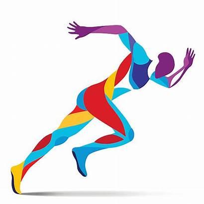 Running Sprinter Movement Vector Line Illustration Clipart