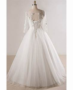 plus size lace 3 4 sleeves floor length modest wedding With 3 4 sleeve wedding dress plus size