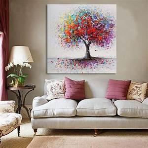 Toile Deco Salon : tempsa tableau peinture huile toile color arbre cadre abstrait et cadre art mural salon d cor ~ Teatrodelosmanantiales.com Idées de Décoration