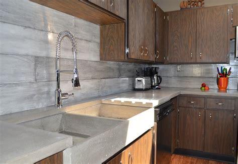 plank form concrete tiles contemporary kitchen