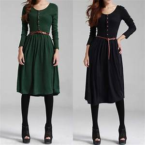Was Ist Retro Style : hot vintage retro style women 39 s long sleeve dresses long knits bottoming dress solid color reeto 39 s ~ Markanthonyermac.com Haus und Dekorationen