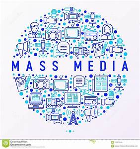 Mass Media Concept In Circle With Thin Line Icons Stock ...