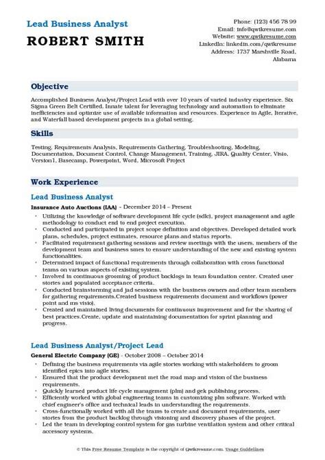Lead Business Analyst Resume by Lead Business Analyst Resume Sles Qwikresume