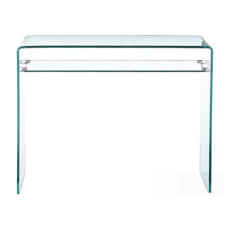 glass console table with shelf bent glass console table with shelf xcella