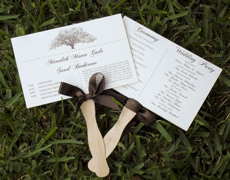 wedding programs rustic tree themed wedding program fans lace embellished