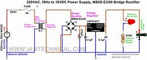 220v Ac To 18v Dc Regulated Power Supply Using Lm7818ct