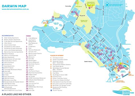 darwin tourist attractions map
