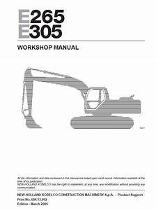 New Holland E265  U0026 E305 Excavator Workshop Manual Pdf