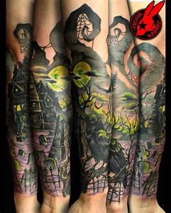 Graveyard Crow Evil Sleeve Tattoo by Jackie Rabbit by ...