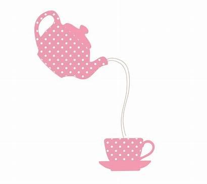 Teapot Teacup Pink Illustration Polka Tea Dots