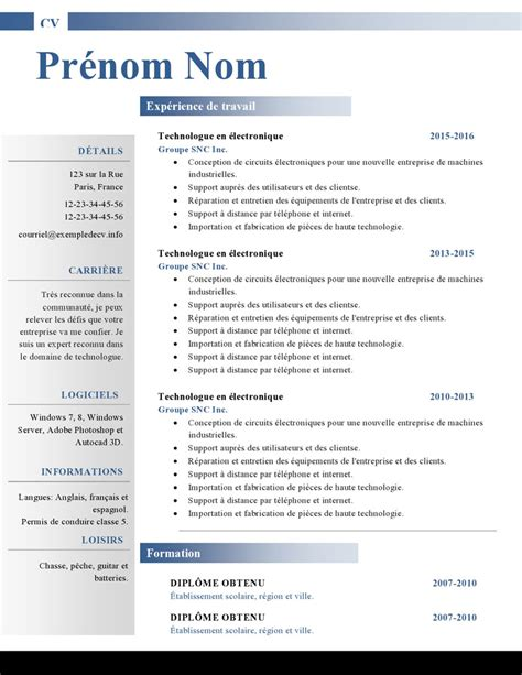 Exemple De Cv Word by Mod 232 Les De Cv Word 879 224 885 Exemple De Cv Info