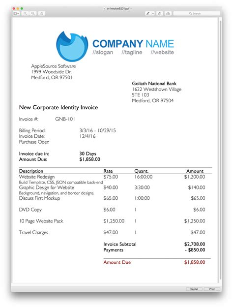 professional invoice template applesource software gt timenet invoice templates time tracking billing and invoicing software