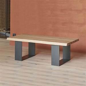 Table Chene Et Metal : table basse moderne style industriel en ch ne massif et ~ Teatrodelosmanantiales.com Idées de Décoration